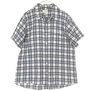 Jack Spade Navy Plaid Washed Cotton Short Sleeve